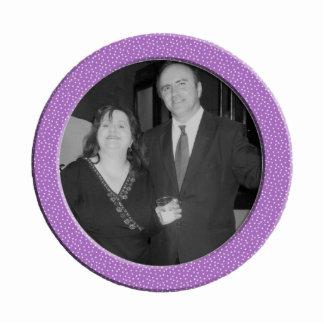 purple speckel frame photo sculpture decoration
