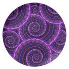Purple Spiral Fractal Art Pattern Plate