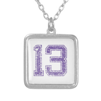 Purple Sports Jerzee Number 13.png Necklaces