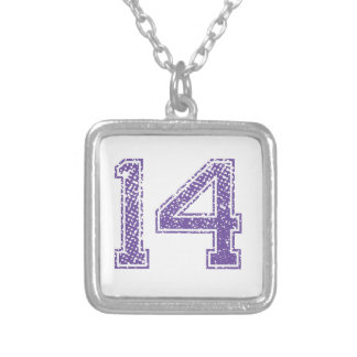 Purple Sports Jerzee Number 14.png Necklaces