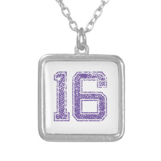 Purple Sports Jerzee Number 16.png Necklace