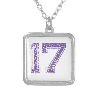 Purple Sports Jerzee Number 17.png Necklace