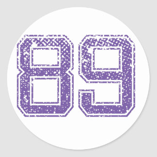Purple Sports Jerzee Number 89.png Classic Round Sticker