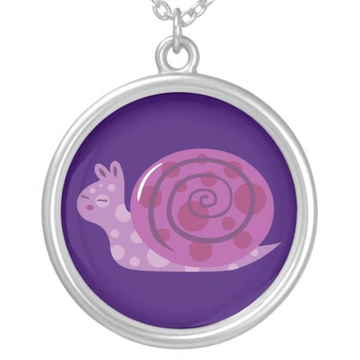 Purple Spotted Snail Necklace