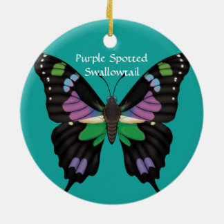 Purple Spotted Swallowtail, Dorsal and Ventral Ceramic Ornament
