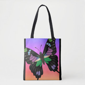 Purple Spotted Swallowtail Dorsal and Ventral Tote Bag