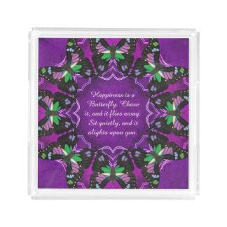 Purple Spotted Swallowtail Mandala Acrylic Tray