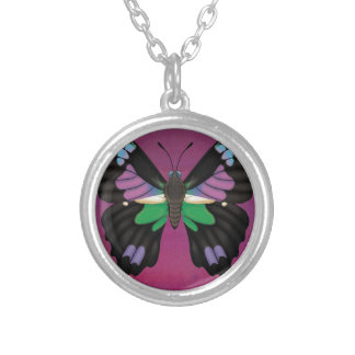 Purple Spotted Swallowtail Silver Plated Necklace
