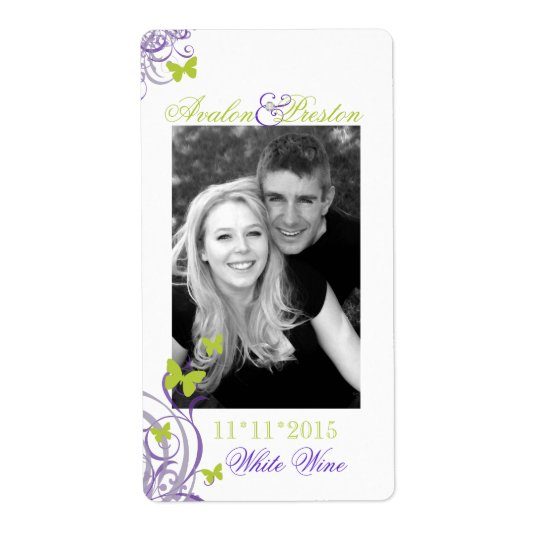 Purple Spring Butterfly Wedding Wine Label Shipping Label