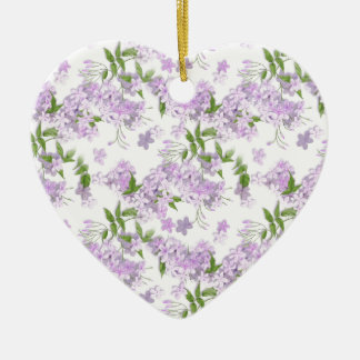 Purple Spring Easter Flowers Ceramic Heart Decoration