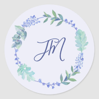 Purple Spring Floral Wreath Monogram Wedding Classic Round Sticker