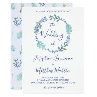 Purple Spring Floral Wreath Wedding Invitations