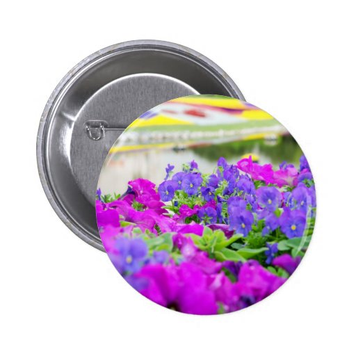 Purple Spring Flowers Pinback Button