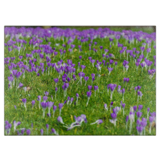 Purple Spring flowers glass Cutting Boards