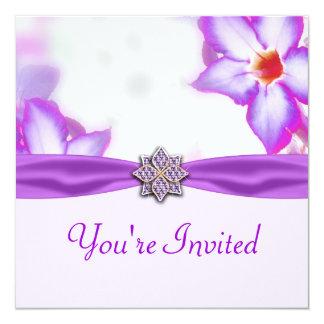 Purple Spring Flowers Watercolor Wedding 5.25x5.25 Square Paper Invitation Card