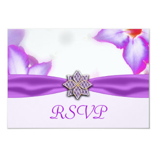 Purple Spring Flowers Watercolor Wedding 3.5x5 Paper Invitation Card