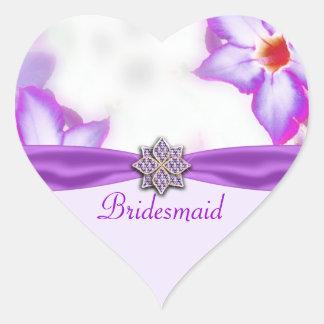 Purple Spring Flowers Watercolor Wedding Heart Sticker