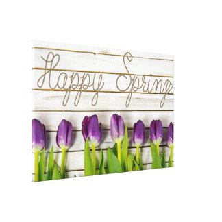 purple spring tulips on whitewashed wood canvas print