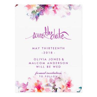 Purple Spring Wedding Floral Save the Date Postcard