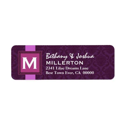 Purple Square Monogram Frame and Ribbon V3 Return Address Label