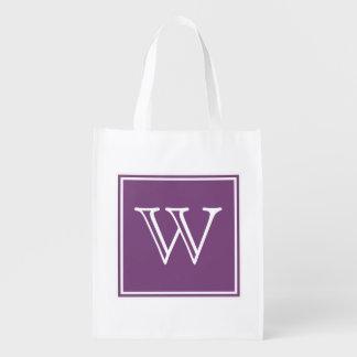 Purple Square Monogram Reusable Grocery Bag