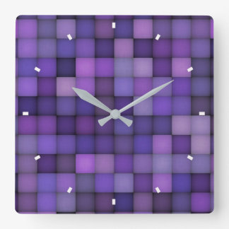 Purple Squares by Julie Everhart Square Wall Clock