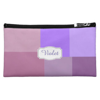 Purple squares&rectangles makeup bag