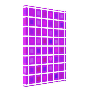 Purple Squares with a Little Heart Stretched Canvas Print