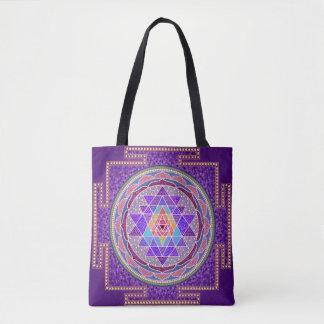 Purple Sri Yantra Tote Bag