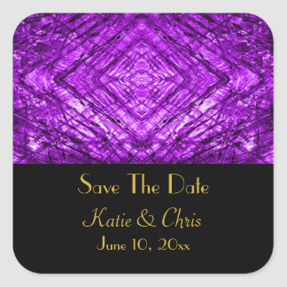 Purple Stained Glass kaleidoscope Texture Square Stickers