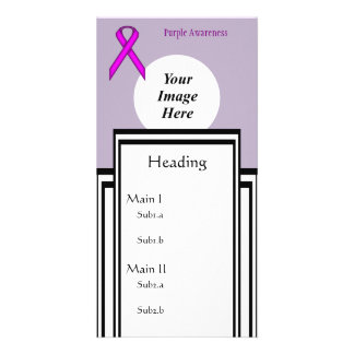 Purple Standard Ribbon Template Photo Card Template