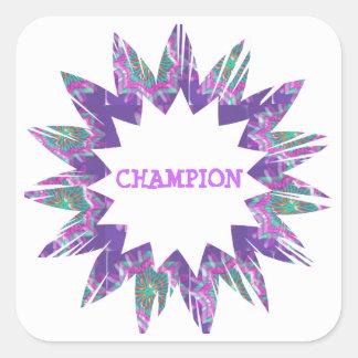 PURPLE Star:  CHAMPION Script Square Sticker