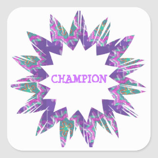 PURPLE Star:  CHAMPION Script Square Sticker