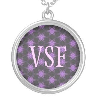 Purple Star Flower Pattern Custom Initial necklace