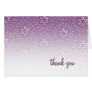 Purple Star of the David Damask Thank You Card