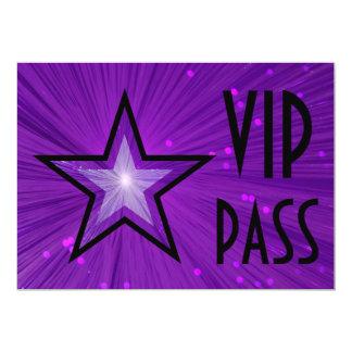 Purple Star 'VIP PASS' horizontal black back Invite
