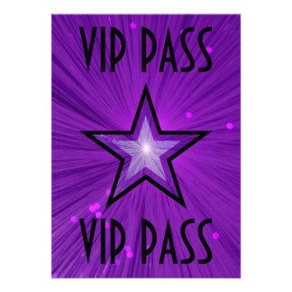 Purple Star 'VIP PASS' invitation black