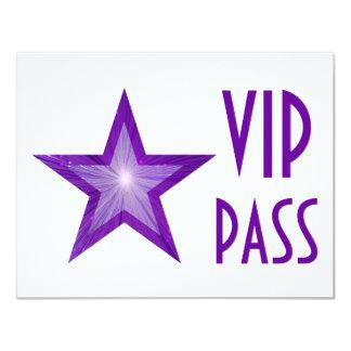 Purple Star 'VIP PASS' invitation white horizontal