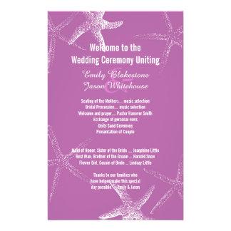Purple Starfish Beach Wedding Program Template 14 Cm X 21.5 Cm Flyer