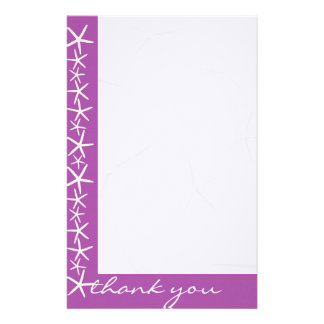 Purple Starfish Border Blank Thank You Paper Personalized Stationery