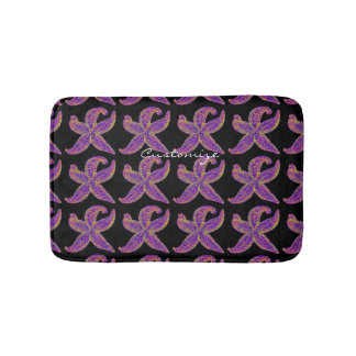 purple starfish pattern black bath mat