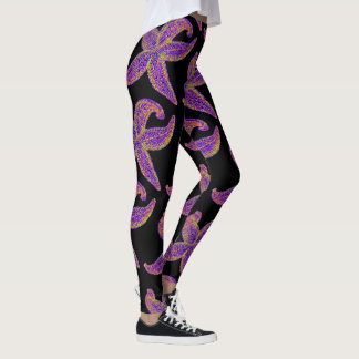 purple starfish Thunder_Cove black Leggings