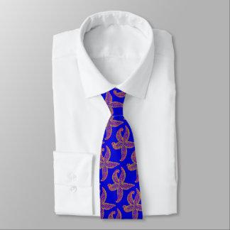purple starfish Thunder_Cove blue Tie