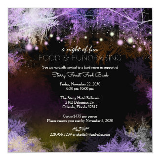 Purple Starry Forest Charity Fundraising 13 Cm X 13 Cm Square Invitation Card