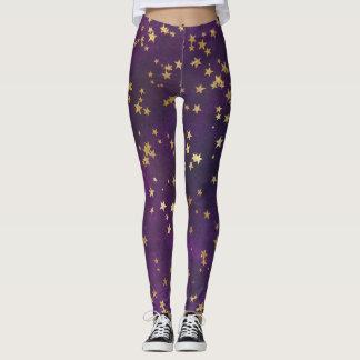 Purple Starry Night Leggings