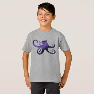 Purple Starry Sky Octopus Silhouette Boy's T-Shirt