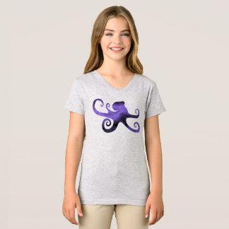 Purple Starry Sky Octopus Silhouette Girl' T-Shirt