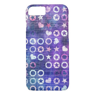 Purple Stars And Hearts iPhone 7 Case