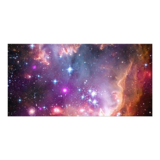 Purple Stars Galaxy Space Astronomy Customized Photo Card