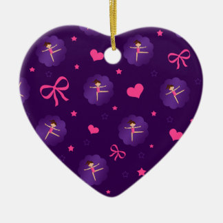 Purple stars hearts bows purple scallop gymnast ceramic ornament